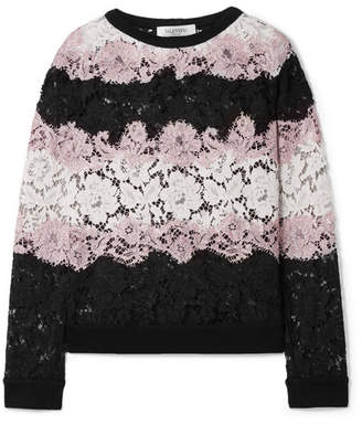 Valentino Jersey-trimmed Corded Cotton-blend Lace Sweatshirt - Black