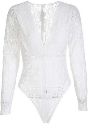 Goodnight Macaroon 'Lala' V-neck Lace Crochet Bodysuit