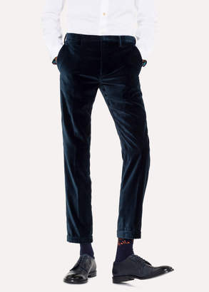 Paul Smith Men's Slim-Fit Dark Petrol Velvet Pants