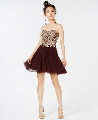 City Studios Juniors' Strapless Applique Fit & Flare Dress