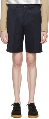 Acne Studios Navy Cotton Adrian Shorts $180 thestylecure.com