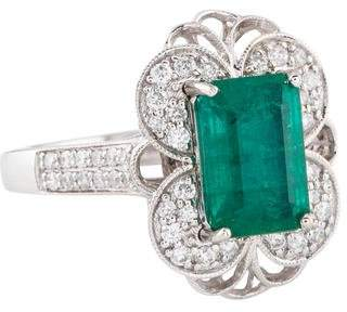 Ring 14K Emerald & Diamond Cocktail