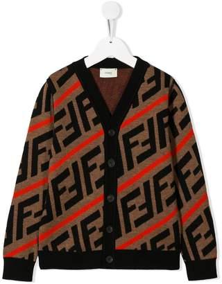 Fendi FF diagonal stripe cardigan