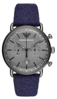 Emporio Armani Aviator Chronograph Blue Felt Watch