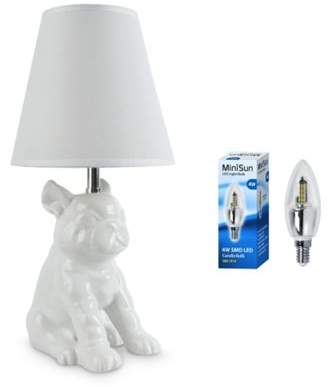 French Bull Minisun Dog Ceramic Table Lamp, White & 4W Led Candle Bulb
