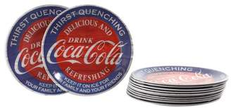 Americana Coca-Cola Melamine 12 Piece 9 inch Dessert Plate Set in Blue