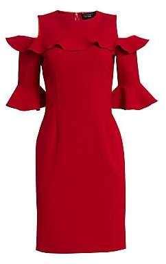 987d642f Teri Jon by Rickie Freeman Women's Stretch Crepe Ruffled Cold-Shoulder Dress