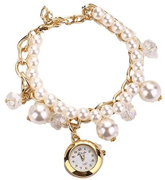 ABS by Allen Schwartz fashionレディース人工パールラインストーンチェーンブレスレットラウンドダイヤルアナログ腕時計