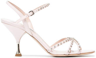 Miu Miu Pink 85 patent leather sandals with crystals