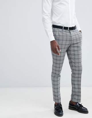 Asos DESIGN skinny suit pants in prince of wales check