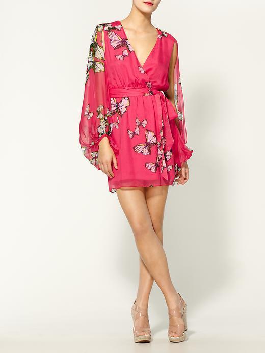 Erin Fetherston Cape Sleeve Wrap Silk Dress
