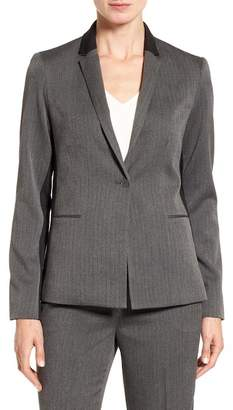 T Tahari Nima Colorblock Herringbone One-Button Jacket