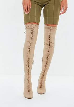 Missguided Nude Front Lace Lycra Over The Knee Boots