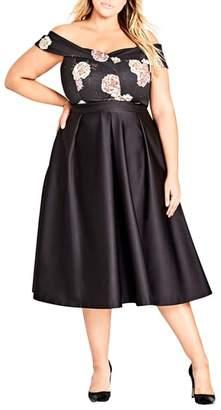 City Chic Sateen Midi Skirt