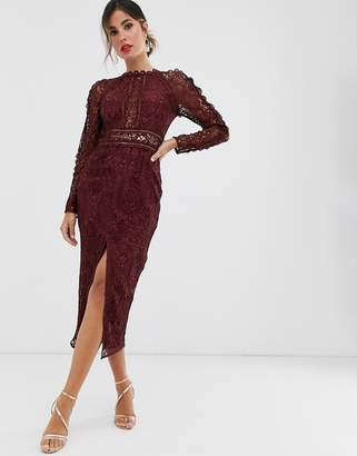 Asos Design DESIGN long sleeve pencil dress in lace with geo lace trims