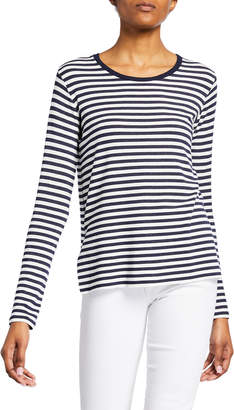 Majestic Striped French Terry Crewneck Long-Sleeve Top w/ Side Slits