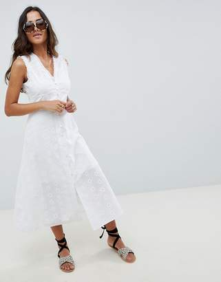 Asos Design DESIGN Sleeveless Broderie Button Through Midaxi midi dress