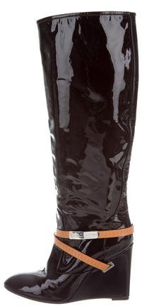 Louis Vuitton Monogram-Accented Wedge Boots