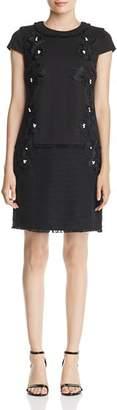 Karl Lagerfeld Paris Embellished Tweed-Hem Dress