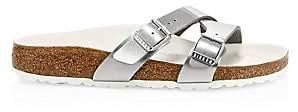 Birkenstock Women's Yao Crossover Double-Strap Metallic Slides Sandals