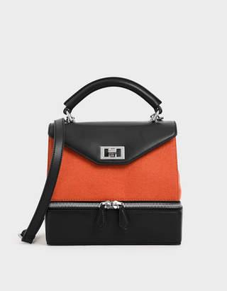 Charles & Keith Wrinkled Effect Two-Way Zip Top Handle Bag