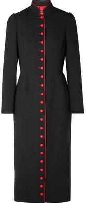 Dolce & Gabbana Two-tone Wool-blend Crepe Coat - Black
