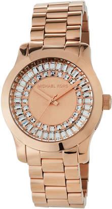 MICHAEL Michael Kors 40mm Runway Bracelet Watch w/ Baguettes, Rose Golden