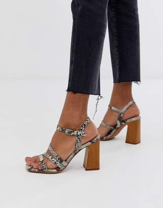 Asos Design DESIGN Timber minimal heeled sandals in snake print