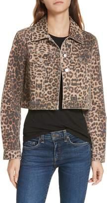 Veronica Beard Cara Leopard Print Crop Denim Jacket