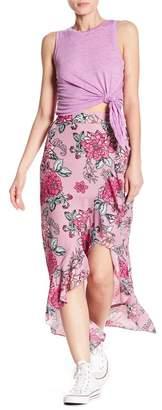 Planet Gold Print Ruffle Edged Wrap Skirt