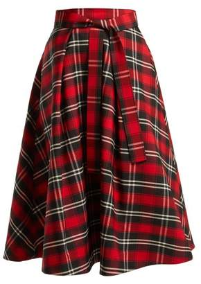Msgm - A Line Tartan Twill Skirt - Womens - Red Black