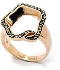 Babette Wasserman Medium Rose Gold and Marcasite Open Flower Ring - Size N