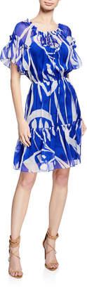 Milly Laren Short-Sleeve Ruffle Dress