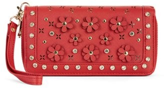 Metallic Sky Double Zip Floral Applique Wallet