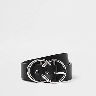 River Island Womens Black silver tone horseshoe double ring belt
