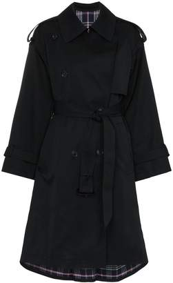 Juun.J belted check print wool trench