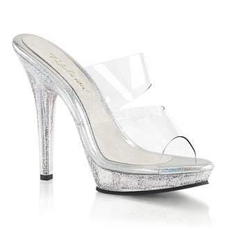 Fabulicious LIP-102MG Women's Mini Iridescent Glitters Dual Band Slide Sandal, Color:, Size:7