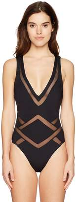 Kenneth Cole New York Women's All Meshed up Plunge Front One Piece Swim Suit