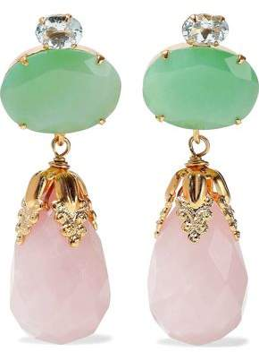 Bounkit Gold-tone, Chrysophrase, Quartz And Crystal Earrings