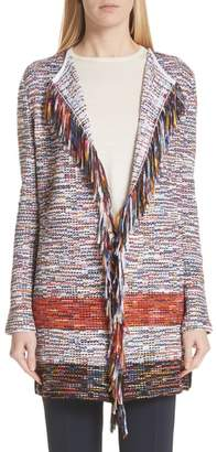 St. John Vertical Fringe Multi Tweed Knit Waterfall Cardigan