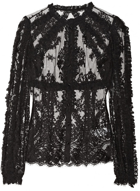 Dolce & Gabbana Ruffled lace cotton-blend blouse