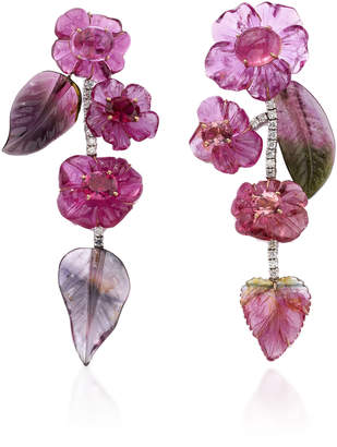 Irene Neuwirth One-Of-A-Kind 18K Gold Carved Tourmaline Leaves And Flowers Earrings