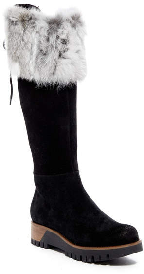 Manas Genuine Rabbit Fur Trimmed Tall Suede Boot