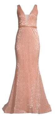 Jovani Women's Deep V Sequin Gown - Champagne - Size 0