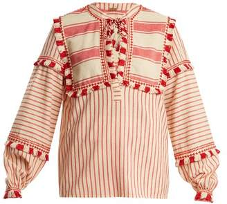Dodo Bar Or - Emanuelle Fringe Embellished Striped Cotton Top - Womens - Red White