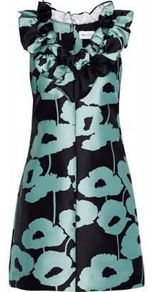 Milly Sadie Ruffle-Trimmed Floral-Print Satin-Twill Mini Dress