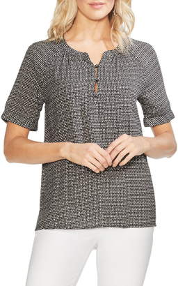 Vince Camuto Diamond Dashes Print Blouse