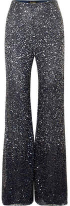 Jenny Packham Estella Embellished Tulle Straight-leg Pants - Midnight blue