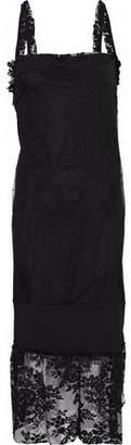 Pierre Balmain Open-Back Crepe-Paneled Lace Midi Dress