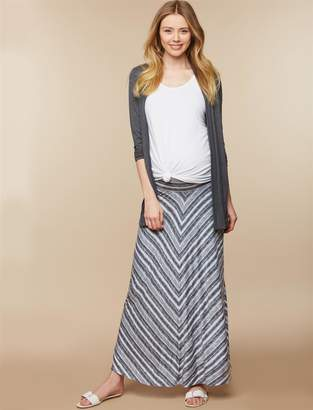 Motherhood Maternity Fold Over Belly Printed Maternity Maxi Skirt